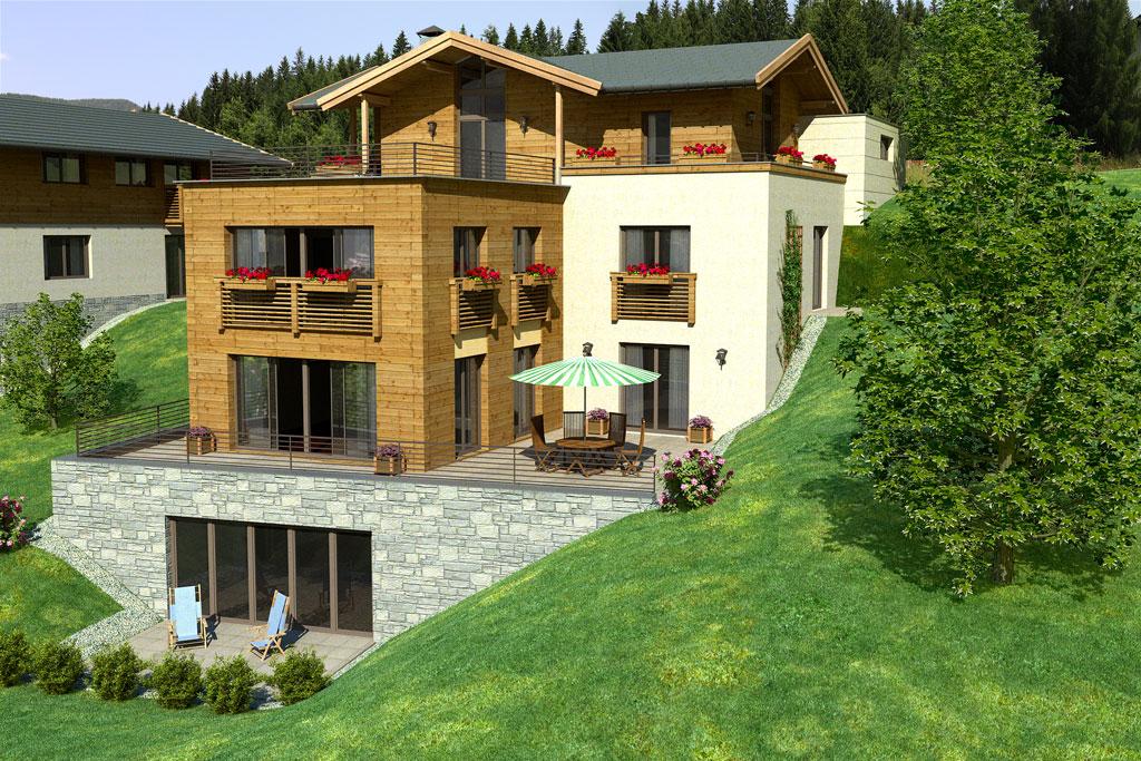 Bilder aus dem Beitrag: 3D architectural visualization ''Mountain deluxe'' (exteriors)
