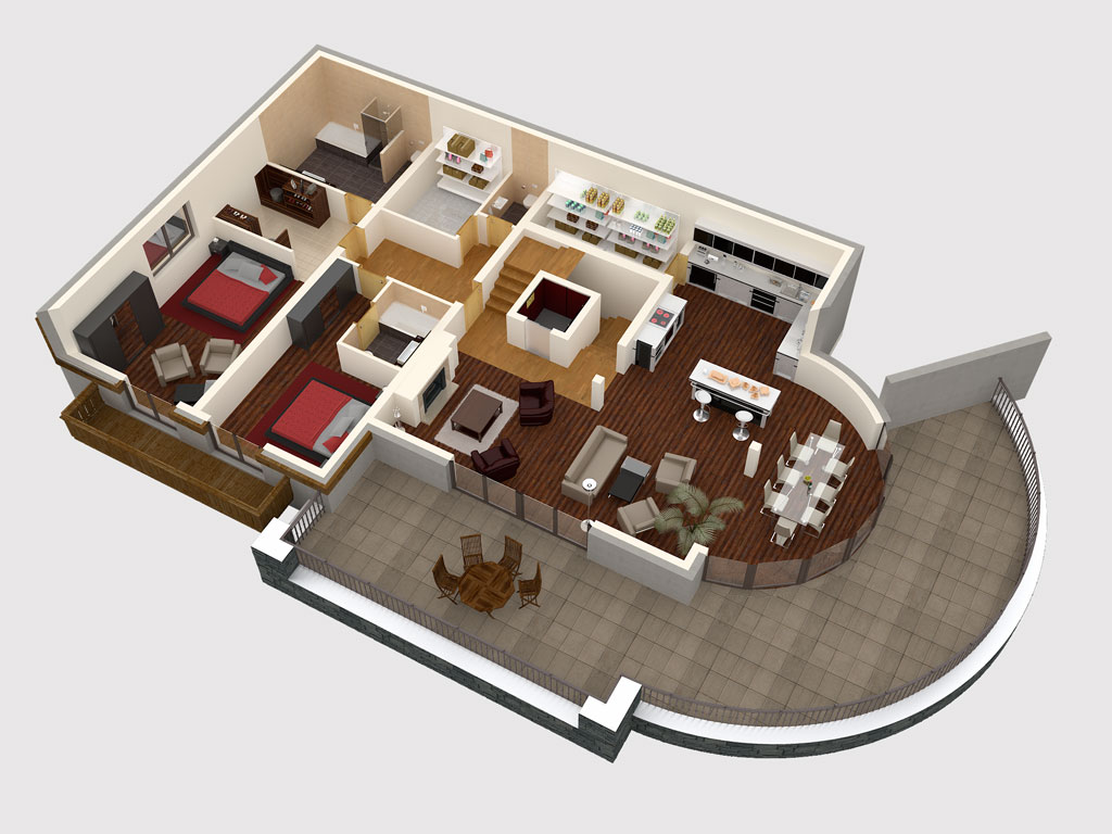 Bilder aus dem Beitrag: 3D architectural visualization ''Mountain deluxe'' (floorplans)